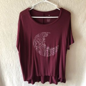 AEO Soft & Sexy Maroon Moon T-Shirt